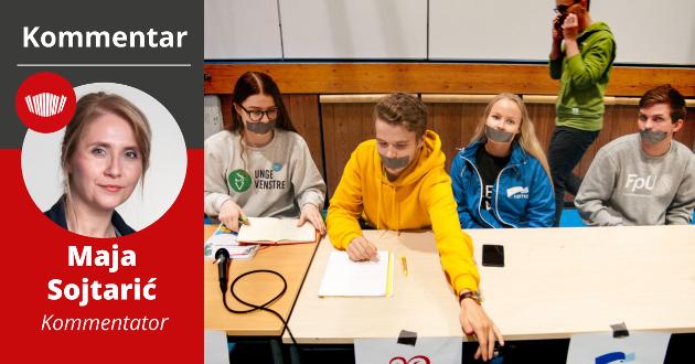 KNEBLET:  I 2019 kneblet Tromsøs ungdomspolitikere seg selv i solidaritet med Unge Venstre som opplevde å bli sensurert da de på et skoletorg fremmet sitt syn om en mer liberal ruspolitikk. I år kan kneblinga være av det mer alvorlige slaget. PST yter for første gang bistand til ungdomspolitikere på grunn av det store trykket i hets og sjikane på sosiale medier, som truer ytringsfriheten.