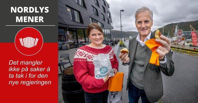 Jonas Gahr Støre og Cecilie Myrseth ved Skirri i Tromsø under valgkampen. . Foto Torgrim Rath Olsen