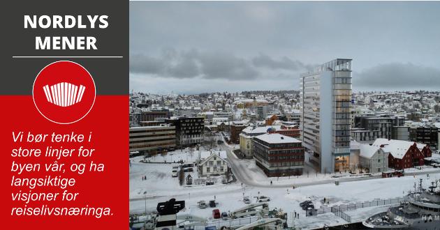 RUVENDE: Petter Stordalen ville bygge et 13-17 etasjer høy hotell på Prostneset i Tromsø. Det ble avslag fra kommunen i denne omgang.