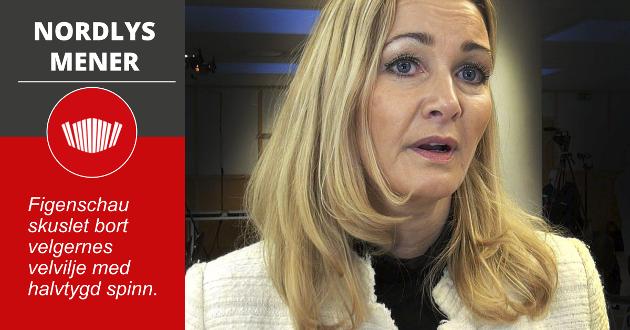 SPINN: I stedet for å ta ansvar i valgstand-saken, valgte Anne Berit Figenschau  å kjøre en knallhard ullenhets-strategi, som hentet rett ut av en foreldet håndbok for kommunikasjonsrådgivere. Nå legger hun seg delvis flat.