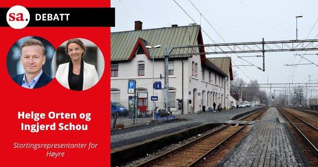 Orten og Schou lover ikke dobbeltspor, men regjeringens ambisjoner om å realisere flere og raskere tog helt til Sarpsborg, Halden, Skien og Lillehammer står ved lag.