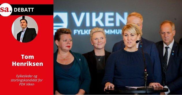 Tom Henriksen i Partiet De Kristne (PDK) Viken vil oppløse Viken. På bildet ser vi da Tonje Brenna (Ap) ble fylkesrådsleder i fylkestinget for Viken fylkeskommune i 2019.