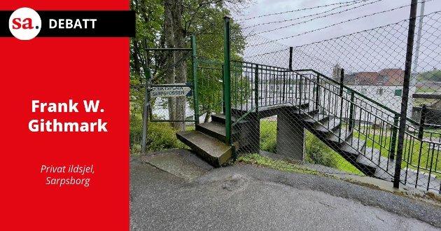 Umulig å forsere for en i rullestol: Utstiktsposten ved Sarpsfossen.