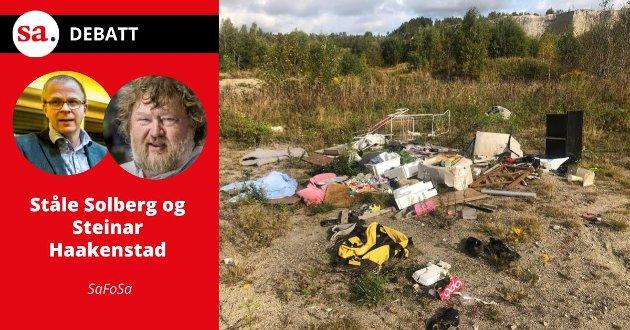 SaFoSa spør i dette innlegget om Vistergropa skal være et attraktivt boligområde eller en søppeldynge. Bildet er fra 2020, etter at noen hadde dumpet søppel der.