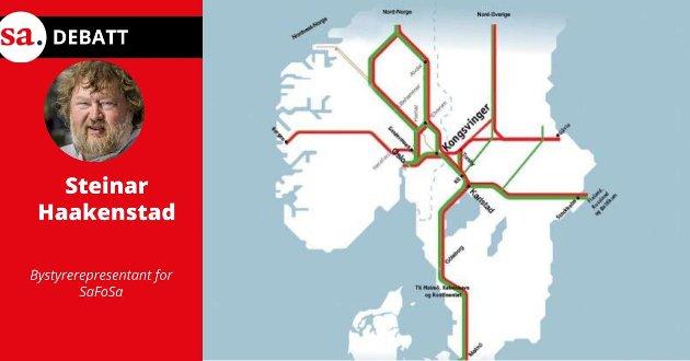 - Jeg hadde lest en rapport fra 2009 som Elisabeth Nordli (Bane NOR) hadde utformet og jeg ble forferdet over en illustrasjon (kartet over) hvor jernbane-Østfold nærmest framsto som et kart over Antarktis, skriver Steinar Haakenstad i dette innlegget.