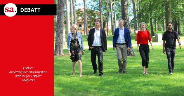 Solveig Østby Vitanza (fra venstre), Stein Erik Lauvås, Jon-Ivar Nygård, Elise Bjørnebekk-Waagen  og Shakeel Rehman, Østfold Arbeiderparti/stortingskandidater for Østfold valgkrets.