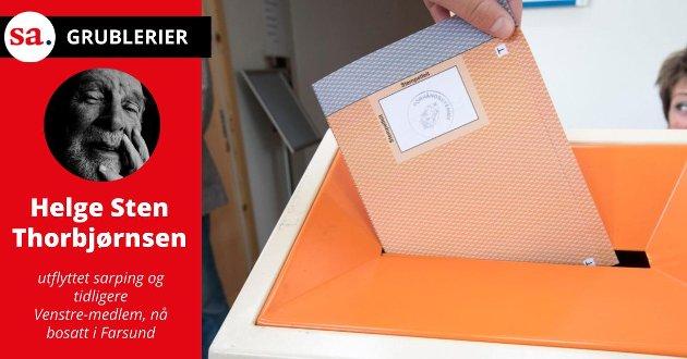 «Hvis det stemmer at noen, eller mange av de unge, mener at de ikke har nok kunnskap om de politiske partiene og derfor ikke føler seg i stand til å velge parti, så er det prisverdig. Hvis de er så reflekterte, så kan de allikevel bruke stemmeretten sin ved å ta turen til stemmelokalene den 13. september, gå inn i en bås, trekke fram en blank seddel og putte den i urnen», skriver Helge Sten Thorbjørnsen. (Illustrasjonsfoto: Terje Pedersen, NTB)