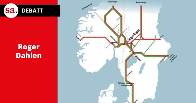 Roger Dahlen kommenterer her jernbaneinnlegget som SaFoSa-politiker Steinar Haakenstad hadde i SA 20. juli, der han blant annet omtalte denne illustrasjonen fra en rapport fra 2009. (Illustrasjon: Rambøll Norge AS)