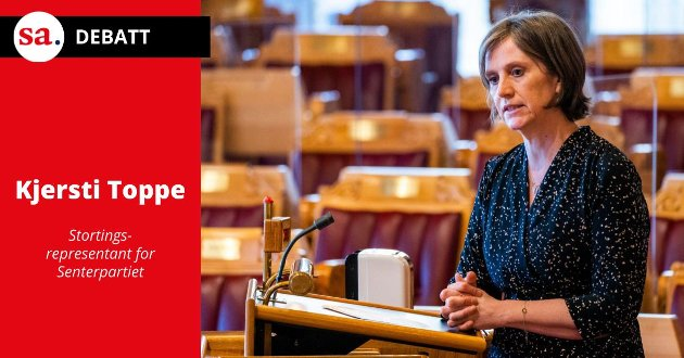 Kjersti Toppe, stortingsrepresentant for Senterpartiet, kommenterer her lederartikkelen om kontantstøtte som stod på trykk i SA 19. juli. (Foto: Håkon Mosvold Larsen, NTB)