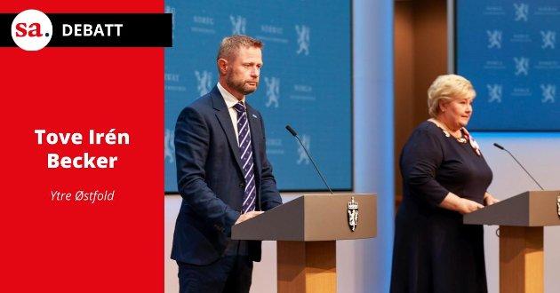 REAGERER: Tove Irén Becker reagerer i dette leserbrevet på hvordan Bente Høie og Erna Solberg informerte om den videre gjenåpningen av Norge.