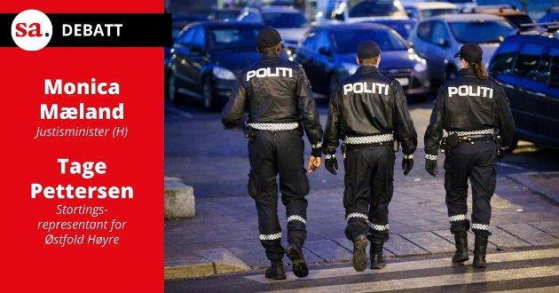 «Høyre vil innføre en gyllen regel for politiet, som skal sørge for at det skal være dobbelt så stor bemanningsvekst i politidistriktene, enn i sentrale funksjoner og ledelse», skriver justisminister Monica Mæland (H) og Tage Pettersen, stortingsrepresentant for Østfold Høyre, i dette innlegget. (Illustrasjonsfoto: Heiko Junge, NTB)
