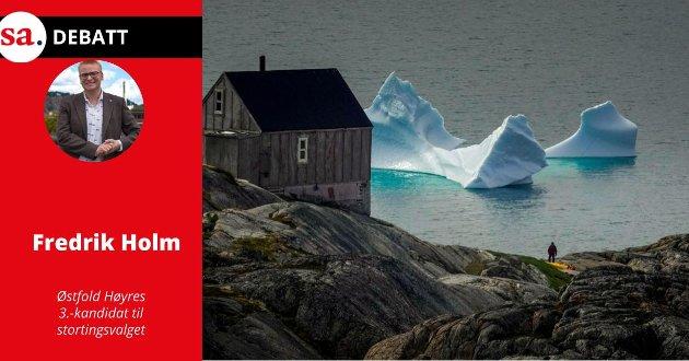 Illustrasjonsfoto: Drivende isfjell i Sermilikfjorden på Øst-Grønland.  Hvis klima er viktig for deg, hvilken regjering vil du helst ha, spør Fredrik Holm (H) i dette innlegget.
