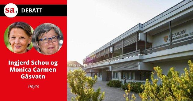 «Rødt anklager høyresiden for utsettelse av byggestart av St. Olav i Sarpsborg og Fredrik II i Fredrikstad, og mener at dette er et resultat av fylkessammenslåingen. Det er både feil og falsk propaganda», skriver Høyre-politikerne Ingjerd Schou og Monica Carmen Gåsvatn i dette innlegget.