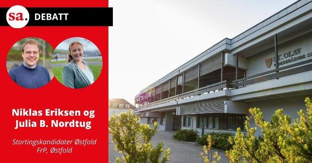 FrP, ved  Niklas Eriksen og Julia B. Nordtug, mener elevene i Østfold, og i resten av Norge, skal stå helt fritt til å velge akkurat den skolen en selv ønsker å gå på, uansett hvilken kommune skolen ligger i. iIllustrasjonsfoto: St. Olav videregående skole.