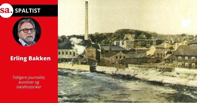 «LIVSFARE»: Postkort av Hafslund-bruket fra 1910. Her ser vi blant annet     arbeiderbrakka «Livsfare» med sine 10 leiligheter. Det fortelles at ved storflom i elva kunne de som bodde i første etasje fiske laks fra vinduene. Brakka brant 1932.