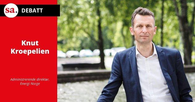 NØDVENDIG UTVEKSLING: – Kraftutveksling er helt nødvendig for norsk    forsyningssikkerhet, skriver Knut Kroepelien, Administrerende direktør i Energi Norge.