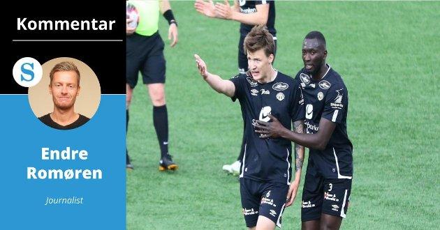 TEMPERATUR: Sogndal leia 3–0 til pause, likevel kokte det for Axel Kryger. – Ekstremt positivt, meiner Endre Romøren.