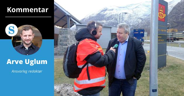 LOVNAD: Lyden av dette NRK-intervjuet blir jamleg spelt av på ordførarkontoret i Vik. Men Bård Håksrud (Frp) var snar med å bryta løfta sine om Vikafjellstunnel.
