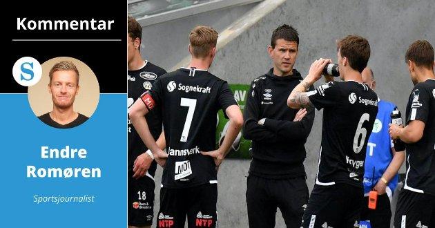 LENGRE: Sportsjournalist Endre Romøren vil at Sogndal skal forlengja kontraktane til trenartrioen Eirik Bakke, Marius Bøe og Rune Bolseth.