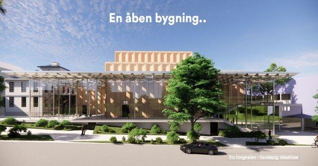 Dagens kulturhus har i form passet best på langsiden av en fotballbane, mener Arne Helseth.