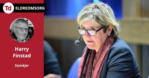 Jeg må spørre ordføreren om hun synes dette er greit? Er det slik dere vil behandle eldre, pleietrengende mennesker, i kommunen? Hvis svaret er ja på begge spørsmålene, foreslår jeg at ordføreren går tilbake til landbruket og blir der, skriver Harry Finstad.