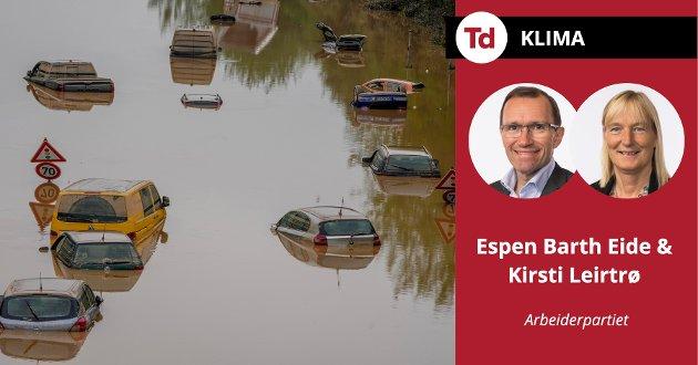 Denne sommeren har vist oss ekstreme værhendelser, skriver Espen Barth Eide og Kirsti Leritrø (Ap). Bildet viser flommen i Erftstadt i Tyskland, 17. juli i år.