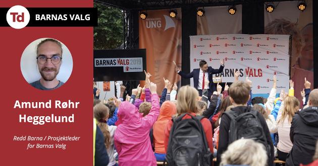 Vi i Redd Barna mener at for å engasjere barn i politikk må det være på deres premisser. Derfor har vi sammen med Nordic Screens tatt på oss oppgaven om å gjøre politikk gøy, spennende og ikke minst viktig for barn, skriver Amund Røhr Heggelund.