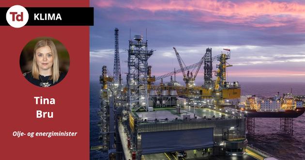 Vi sitter bom fast i den samme ensporede debatten om at Norge må starte avviklingen av olje- og gassindustrien. Å tro at dersom vi struper alle olje- og gassoppdrag til verftene rundt omkring i landet umiddelbart, så ville vi se en grønn revolusjon bare springe frem, er med respekt å melde utopi, skriver olje- og energiminister Tina Bru (H). Avbildet er Johan Sverdrup-feltet i Nordsjøen.