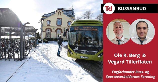 Dette er ikke holdbart. Det ødelegger bussbransjen i Trøndelag når det ikke lenger er mulig å leve av jobben som sjåfør. Av om lag 500 stillinger er det nå snart bare halvparten som er hele stillinger, skriver Ole R. Berg og Vegard Tillerflaten om bussanbudet i Trøndelag.