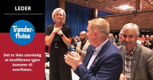 Ap framstår mer harmonisk enn på lenge, både i Trøndelag og nasjonalt, skriver Trønder-Avisa på lederplass. Her fra valget av Ingvild Kjerkol som fylkesleder under det dramatiske årsmøtet i 2020.
