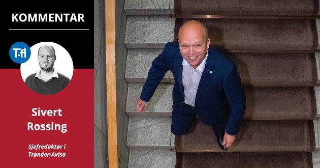 PÅ VEI OPP: Sp-leder Trygve Slagsvold Vedum endte som årets valgvinner. Tør han bruke valgseieren til å gå i regjering med SV?
