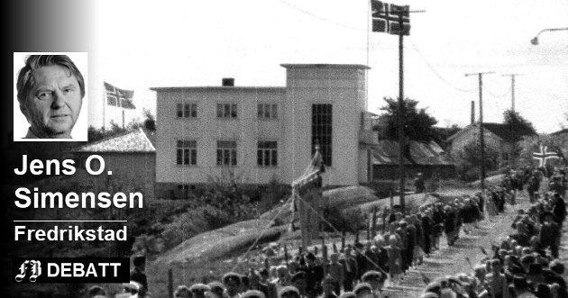 Folkvang på Gerhardsens tid: Bilde av barnetoget som går forbi arbeiderbevegelsens kjente forsamlingslokale på Kråkerøyveien. Bildeteksten sier at det er fra 40-tallet, mao. tett opp til den berømte talen Einar Gerhardsen holdt her 29. februar 1948.