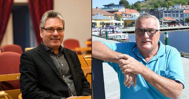 UENIGE: Thor Edquist (H) og Per Egil Evensen (Frp) er ikke enige om hvordan den politiske situasjonen i Halden er.