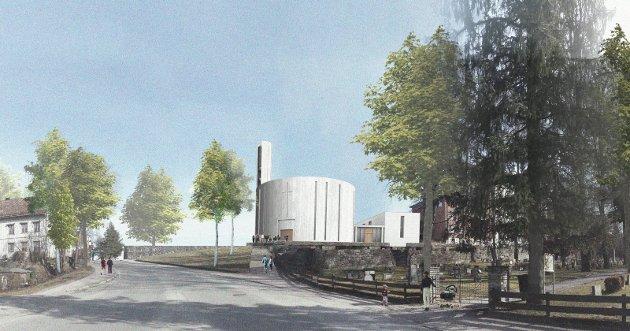 KIRKEFORSLAG: Dette er et av forslagene som er utstilt i kapellet rett ved tomta til Østre Porsgrunn kirke. Det har kommet fram i forbindelse med plan- og designkonkurransen.