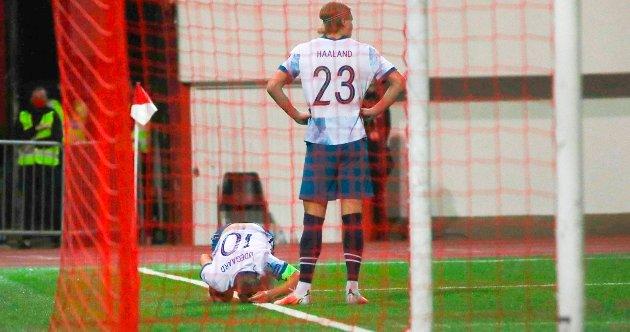 SKADET: Martin Ødegaard tråkket over i første omgang mot Gibraltar, og det er uvisst om stjernen kan spille mot Tyrkia på lørdag.
