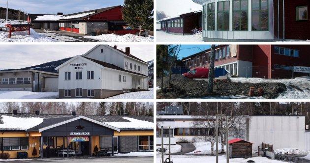 BERØRES: Alle de ni grunnskolene i Østre Toten berøres av anbefalingen for ny skolestruktur. Her er seks av dem øverst f.v. Nordli skole, Hoffsvangen skole, Totenviken skole, Kolbiu skole, Stange skole og Vilberg skole
