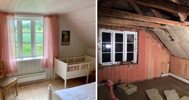 SOVEROM FØR OG NO: Det store soverommet i andre høgda før og etter. Det er til saman tre soverom i huset.