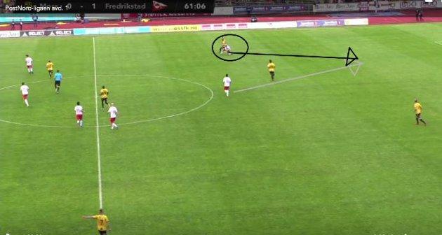 Det var to eksempler på meget godt gjenvinningsspill av FFK før 2-0-scoringen. Først ved Maikel Nieves og deretter Joona Veteli (bildet). Finnen spilte deretter gjennom Kjell Rune Sellin, som hadde få problemer med å doble ledelsen.