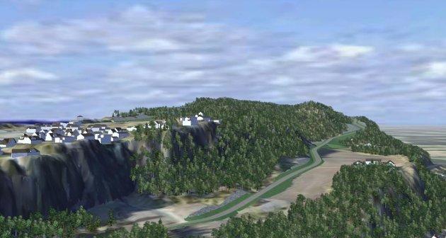 NY VEI: Den planlagte kommunale veien skal binde sammen Fjordveien ved Sjøskogen med Kleivanveien på Nordre Kleivan. Den blir 2,9 kilometer lang.