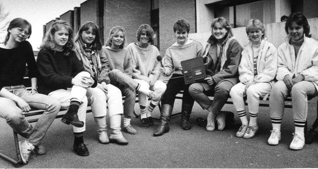 Mai 1985. Mediegruppen på Malakoff skole i Moss. Ni elever.