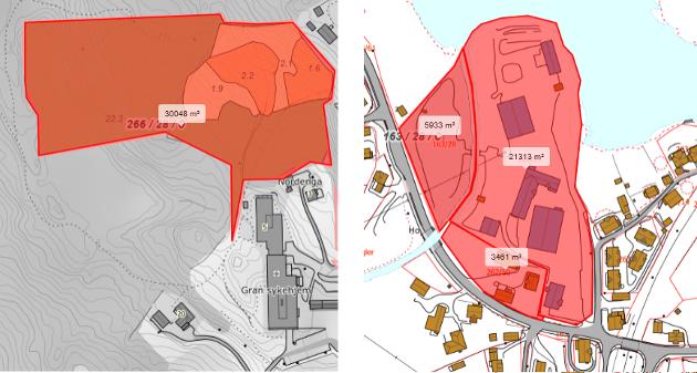 Gran kommune eier arealer både på Skjervum og Sagatangen, men det har vært ulike oppfatninger om arealstørrelser. Dette utsnittet er hentet fra karttjenesten til Norsk Institutt for Bioøkonomi. Copyright: Kartverket