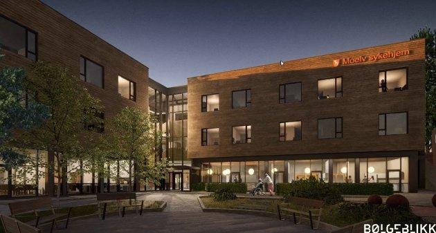 Inngang: Slik vil inngangen til sykehjemmet se ut. Den skal invitere folk inn fra sentrum.