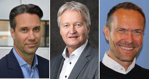 MÅ SETTES I GANG: Det største problemet med rv.4-prosjektet er at det ikke allerede er gjennomført, mener lokale næringslivsledere. Fra venstre Jonas Kuderman (Ringnes), Svein Oftedal (Würth) og Martin Kjekshus (Diplom-Is).