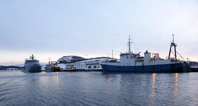 """EU-FLÅTE: Den litauiske tråleren """"Senator"""" i arrest i Kirkenes i 2018,  etter å ha fisket ulovlig på norsk kontinentalsokkel i vernesonen ved Svalbard. Foto: Kystvakten"""