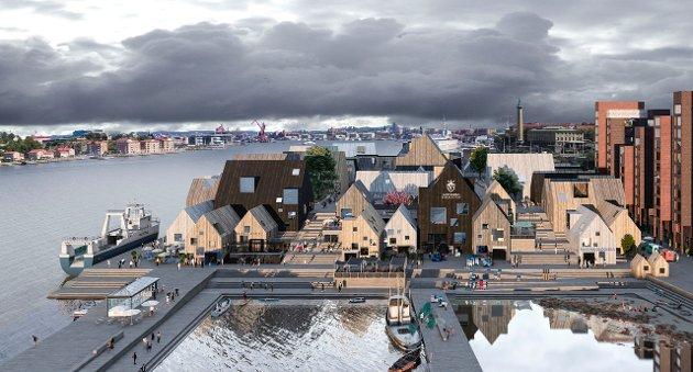 Forslag til Göteborg Fiskhamn laget av Wingårdh arkitektkontor i Sverige. (Gjengitt med tillatelse)