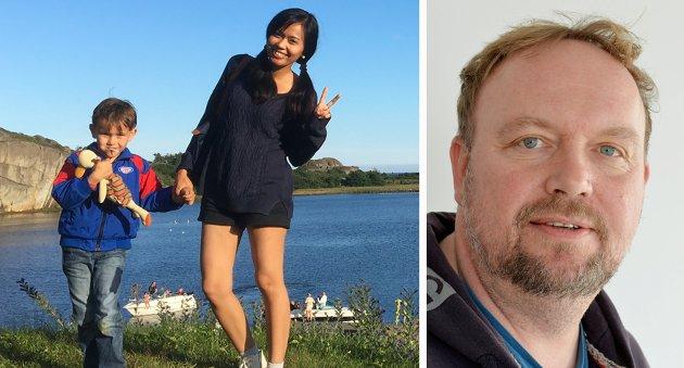 EKTE KJÆRLIGHET: Frank Johansen skriver om minoriteter, og oppdager at han selv er en minoritet - norsk mann med kone fra Bangkok. Her med kona Saronrot Johansen (Cake) og sønnen Khimhan Reinhardt.