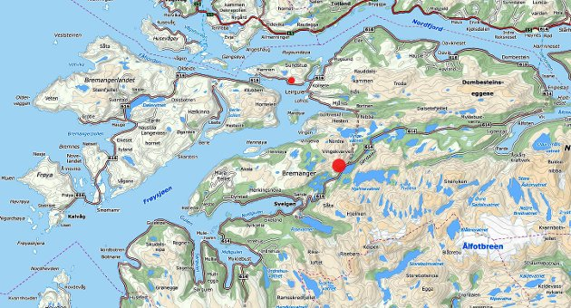 SØRDALEN: Sørdalen er markert med den store raude prikken, medan alternativet i Haukedalen er markert med ein mindre raud prikk.