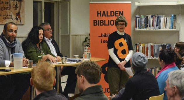 NATURLIG MØTEPLASS: Ingela Nøding skriver i dagens Signert varmt for at Halden Bibliotek bør være en naturlig møteplass. Her fra et folkemøte.