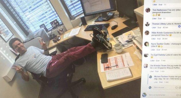 SISTE DAG på jobb: Slik kan det se ut siste dag på jobb, men jeg kan forsikre deg: Vanligvis har jeg ikke hatt tid til å ha begge bena på bordet. Foto: Morten Ulekleiv som la det ut på Facebook