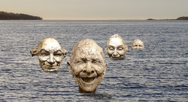 SMIL OG GLEDE: Slik ser selskapet Smilende Kunst for seg skulpturene til kunstner Bruce Naigles på Sjøbadet. Hvert hode blir cirka 1,5 meter høyt og skal støpes i bronse. (Fotomontasje fra saksfremlegget)